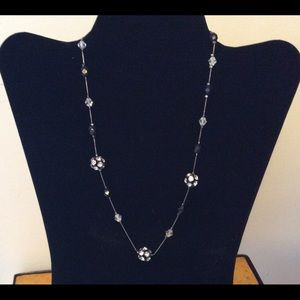 Sparkly Black and Silver Necklace and Earrings